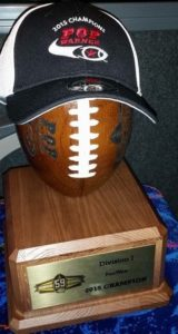2015 National championship trophy for the Gwen Cherry Bulls Pee Wee team